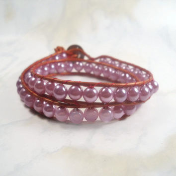 Wrap Bracelet Purple Pearl Bracelet Beaded Bracelet