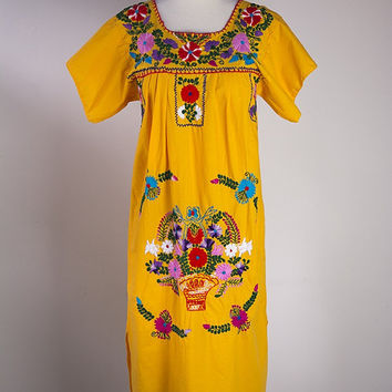 Vintage Orange Frida Mexican Peasant Dress S