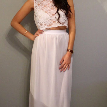 Special offer mix and match lace crop top and chiffon maxi dress, 2 piece dress.