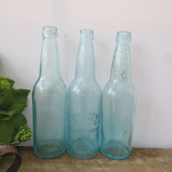 Antique Glass Bottle Collection Turquoise Blue Terre Haute Brewing Company Indiana Vintage Vase Home Decor Cottage Shabby Chic