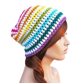 Crochet Slouch Rainbow Beanie- Ultimate Slacker Striped Beanie Hat- Pride