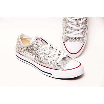 Silver Starlight Sequin All Star Low Top Sneakers