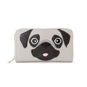 CUTE LITTLE PUG PUPPY ZIP AROUND WALLET