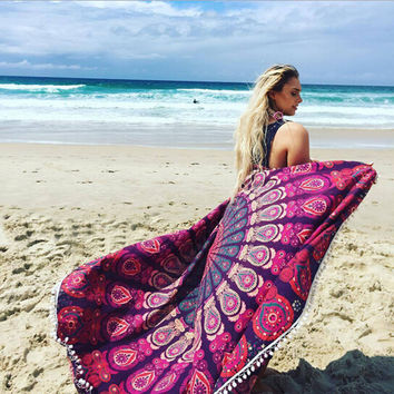 Mandala Tapestry Indian Printed Decor Wall  Hanging Tapestries Table Cloth Bed Sheet Outdoor Scarf for women Milk Silk tassel