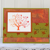Birthday Card with Autumn Tree, Happy Birthday in Fall Colors, Handmade Greeting Card, Falling Leaves, Orange and Olive Green, Personal Note