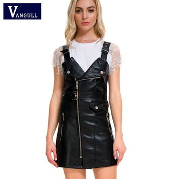 Vangull 2018 New Women Leather Dress Soft PU Faux Leather Dress V Nck Sexy Slim Retro Black Short Mini Dress vestido de festa