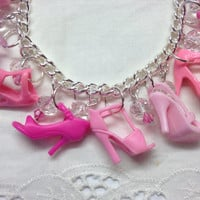 Upcycled All Pink Barbie Shoe Charm Bracelet with Crystal Beads
