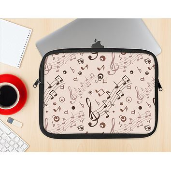 The Tan Music Note Pattern Ink-Fuzed NeoPrene MacBook Laptop Sleeve
