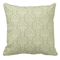 Green & Cream Damask Pillow