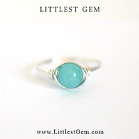 Turquoise Amazonite Ring - unique rings - wire wrapped jewelry handmade - custom