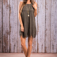 Sweet But Sassy In Suede Dress, Olive