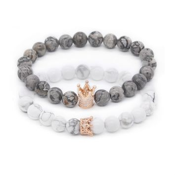 Poahfeel  His And Hers Bracelets 8mm Grey Map Stone & Howlite Beads Cz Crown King Charm Bracelet For Lovers Distance Jewelry
