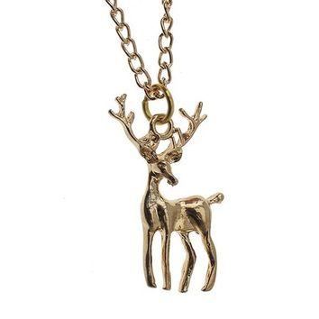 Gold Deer Pendant Necklace For Women
