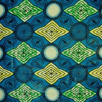 African Fabric 1/2 Yard LIGHTWEIGHT Cotton BLUE GREEN Yellow Abstract