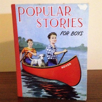 "Vintage 1950s Children's Book: ""Popular Stories For Boys"" / Printed by Birn Brothers, London, England / Mid Century Literature"
