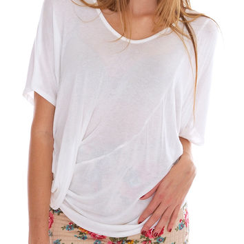 My Bestie Short Sleeve Top - White Sheer