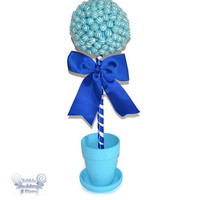 Large Blue Lollipop Topiary, Candy Topiary, Lollipop Topiary, Candy Centerpiece, Lollipop Centerpiece, Babyshower Centerpiece, Wedding