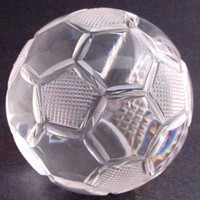 Hand Cut Glass soccer ball award customize paperweight