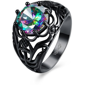 HOT FASHION LUXURY VINTAGE BLACK GOLD PLATED ZIRCON CZ DIAMOND COLORFUL RINGS FOR WOMEN WEDDING ENGAGEMENT JEWELRY RINGS