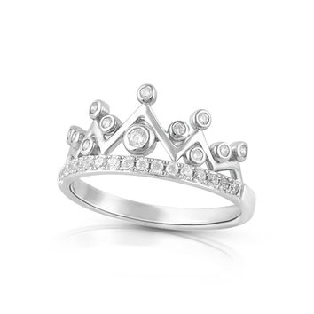 Sterling Silver Simulated Diamond Princess Crown Ring
