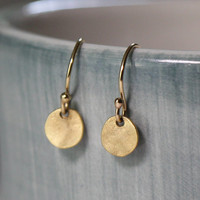 VALENTINE'S DAY, Small Gold Earrings / Simple Disc Earrings / Gold Dangle Circle Earrings