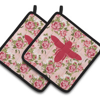 Bee Shabby Chic Pink Roses  Pair of Pot Holders BB1057-RS-PK-PTHD