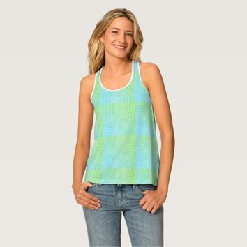 Seaside Selfie Blue Green Striped Tank Top