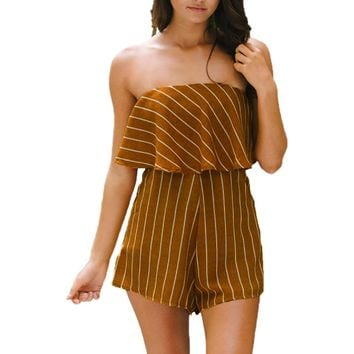 Off Shoulder Stripe Print Romper