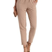 Tan Cuffed Drawstring Jogger Pants by Charlotte Russe