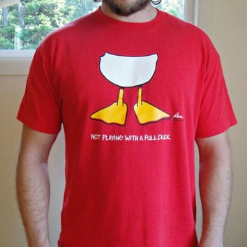 25% Sale VTG 80's Quirky Red Graphic Tee. Funny Duck T-Shirt. Soft - Thin. Unisex. Extra Large XL