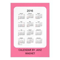 2016 Pale Violet Calendar by Janz 5x7 Magnet Magnetic Invitations