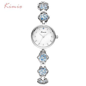KIMIO 2017 Luxury Women Quartz Watches Top Brand Fashion Camellia Flower Bracelet Watch Ladies Dress WristWatch Relogio Feminino