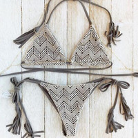 Lace Patchwork Triangle Bikini B0013889