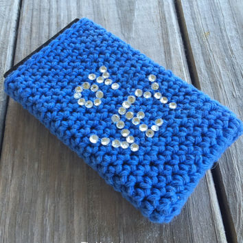 Hanukkah Gift, Chanukkah phone case with Oy Vey in blue, All sizes, Hanukkah phone cover, Crochet phone cover, Judaica phone case. #P009