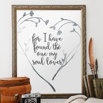 Bible verse art Print, scripture wedding decor wedding bible verses printable wall art decor poster, digital - Song of Solomon 3:4  BD-309