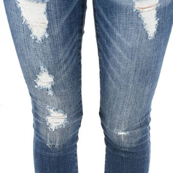 Skinny jeans with distressed details - qtr2 Curvy Fit