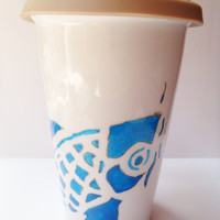 Ceramic Travel Mug Bright Cobalt Blue Koi Fish Hand by Tasha808