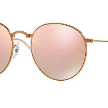Ray Ban Round Metal Folding Sunglass Bronze Copper Flash Mirrored Gradient RB 3532 198