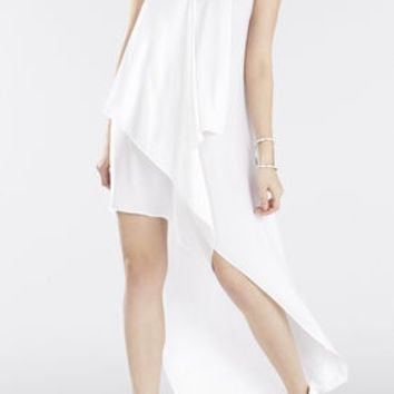 Tara Cascade-Ruffle Dress - White