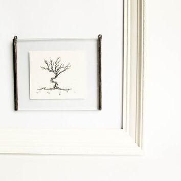 ORIGINAL ILLUSTRATION ART Framed art Minimalist ink drawing Miniature home decor Unique handmade picture Beautiful detailed intricate nature