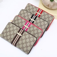 """Gucci"" Unisex Purse Fashion Retro Multicolor Stripe Multifunction Long Section Zip Wallet Handbag"