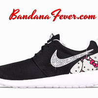 "Nike ""Bling Hello Kitty"" Roshe Run Women's Black/Metallic Platinum by Bandana Fever"