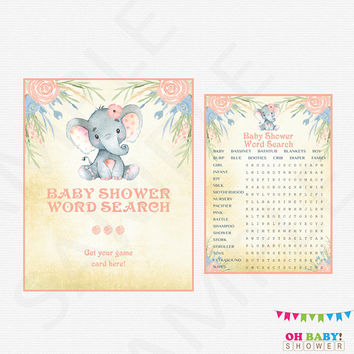 Elephant Baby Shower Word Search, Watercolor Baby Shower Sign, Girl Baby Shower Games Pink, Baby Shower Printables, Instant Download, ELWP
