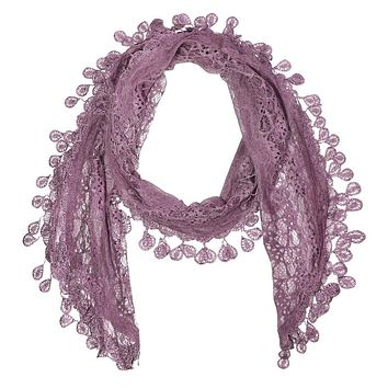 Lace Skinny Scarf in Lilac Purple
