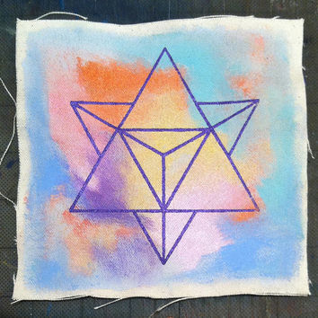 Hand painted MERKABA Travel Vessel Patch ~ sewable canvas patch
