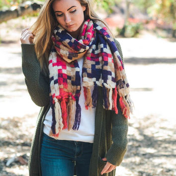 Patchwork Woven Multicolor Tassel Scarf