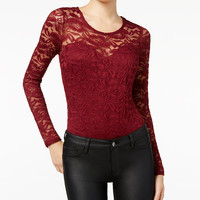 Material Girl Juniors' Illusion Lace Bodysuit, Only at Macy's - Juniors Tops - Macy's