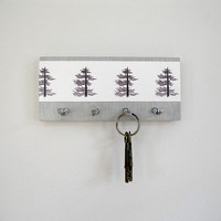 Key Holder PINE: wall key hooks art print pine trees black white silver storage organizer