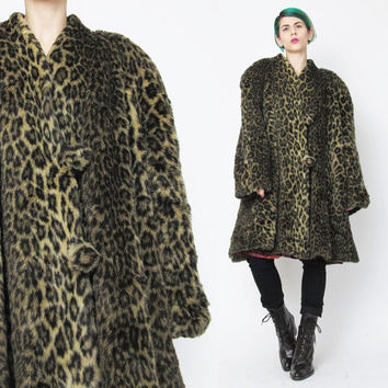 1950s Leopard Faux Fur Coat Vintage Leopard Coat Animal Print Coat Cheetah Print 1950s Swing Coat Wide Fit Plus Size Winter Coat  (L/XL)