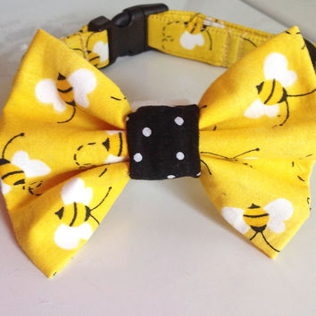 Yellow Bumble Bee Bow Tie Collar for Cats and Dogs